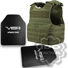 """Condor XPCL EXO Molle Infantry Operator Plate Carrier (OD Green) + VISM® Hard Ballistic Armor Panel Level III (UHMWPE) 10""""X12"""" Shooters Cut / Single Curve"""