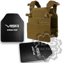 """Condor Vanquish Plate Carrier (Coyote Brown) + VISM Hard Ballistic Armor Panel Level III (UHMWPE) 10""""X12"""" Shooters Cut / Single Curve"""