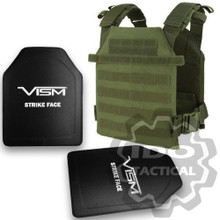 "Condor Sentry Plate Carrier (OD Green) + VISM® Hard Ballistic Armor Panel Level III (UHMWPE) 10""X12"" Shooters Cut / Single Curve"
