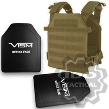 "Condor Sentry Plate Carrier (Tan) + VISM Hard Ballistic Armor Panel Level III (UHMWPE) 10""X12"" Shooters Cut / Single Curve"