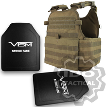"Condor MOPC Molle Operator Plate Carrier (Tan) + VISM® Hard Ballistic Armor Panel Level III (UHMWPE) 10""X12"" Shooters Cut / Single Curve"