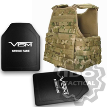 "Condor MOPC Molle Operator Plate Carrier (Multicam) + VISM® Hard Ballistic Armor Panel Level III (UHMWPE) 10""X12"" Shooters Cut / Single Curve"