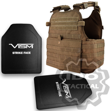 "Condor MOPC Molle Operator Plate Carrier (Coyote Brown) + VISM Hard Ballistic Armor Panel Level III (UHMWPE) 10""X12"" Shooters Cut / Single Curve"