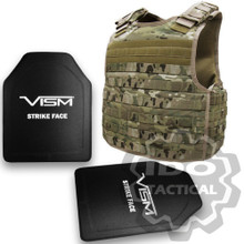 "Condor Defender Plate Carrier (Multicam) +  VISM® Hard Ballistic stic Armor Panel Level III (UHMWPE) 10""X12"" Shooters Cut / Single Curve"