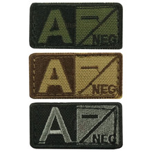 Condor 229A- Velcro Blood Type Morale Patch A Negative A- OD Green, Tan/Brown, Black/Foliage
