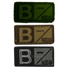 Condor 229B- Velcro Blood Type Morale Patch B Negative B- OD Green, Tan/Brown, Black/Foliage