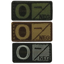 Condor 229O- Velcro Blood Type Morale Patch O Negative O- OD Green, Tan/Brown, Black/Foliage