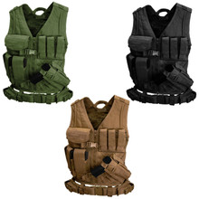 Condor CVXL Military Cross Draw Tactical Chest Rig Vest w/ Holster Pouch- OD Green/ Black/ Coyote Brown