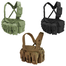 Condor CR Chest Rig with 7 Pouches for 5.56mm Magazine Carrier Vest- OD Green/ Black/ Coyote Brown