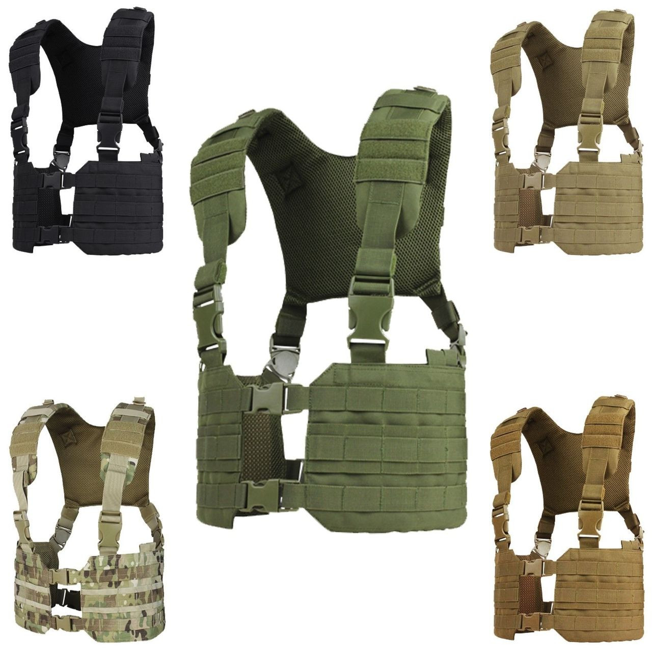 Condor MCR7 RONIN MOLLE Chest Rig Quick Release Split Padded H-Harness Vest BLK