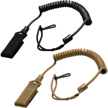 Condor US1004 Pistol Lanyard Coiled Wire Velcro Attaches to Belt or PALS- Black/ Coyote Brown