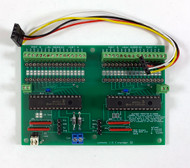 """The IOX32 is an expander which provides an 32 lines of i/o for the cpNode using the MCP23017 chip.  IOX16 lines are configurable in as input or output in 8 bit (1 byte) increments. Up to 128 lines of i/o may be added to a cpNode in any combination of IOX16s and IOX32s.  Input and output voltages are limited to 5V.  Each output may sink up to 25 mA subject to a device limit of 160mA, if all lines are used as output, use 10mA as a design limit.  Since the vast majority of outputs in a model railroad signaling system are for driving LEDS, 10mA should be adequate. If you need to work with higher voltages or currents, use the CSNK adapter in conjunction with the IOX16 (NOT the IOX32).  Pads for inserting limiting resistors are provided for each line (shown here with machined sockets).  Output pads are spaced at 0.100"""" to allow you maximum flexibility in configuring outputs.  IOX32 ships with 32 header pins but you can use any 0.100 connector you prefer."""