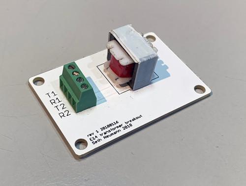 "E14 600:600 ohm non-saturating transformer for audio coupling.  1"" x 1 7/8""."