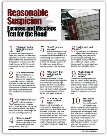 Excuses employees use when confront by DOT Supervisors for Reasonable Suspicion