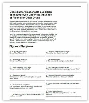 Checklist for Reasonable Suspicion Training Handout for DOT Training