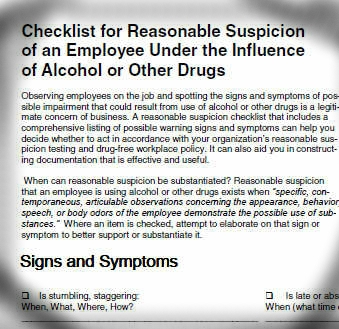 Checklist for reasonable suspicion training and documentation