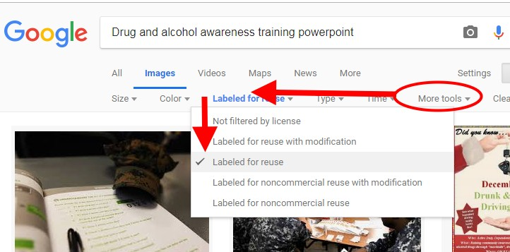 How to Find Images for Your DOT Reasonable Suspicion Training PowerPoint