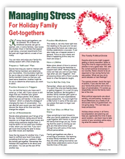 Holiday Stress Free Tip Sheet to Reproduce and Distribute