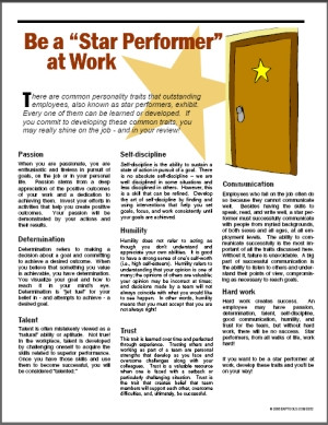 Image for Be a Star Performer at Work