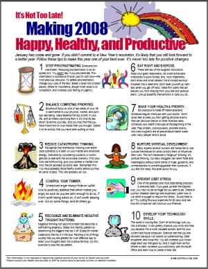Image for It's Not Too Late. Making Year Ahead Happy, Healthy, and Productive