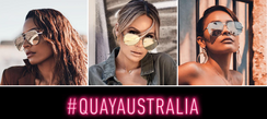 Quay Australia- Keep it HIGH KEY. Designed in collaboration with Desi Perkins, this worldwide fan fave has turned the classic aviator on its head. Featuring an oversized metal frame with flat reflective lenses and signature triangle notch like prongs. Color in stock Gold on Gold or TOP Sellers!