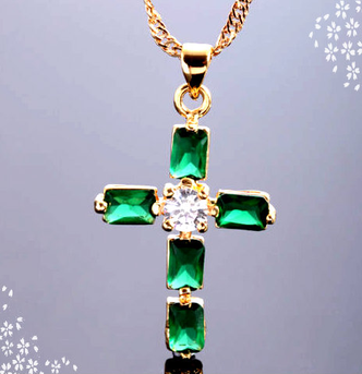 Emerald and CZ Cross pendant necklace on 18K gold plated