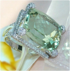925 Silver Women Chic Natural Gemstone Prehnite Ring