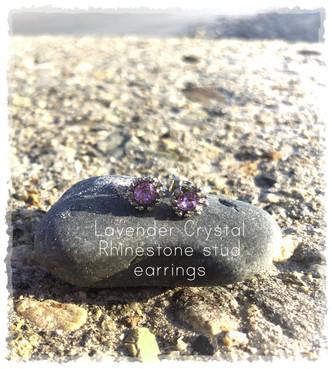 Lavender and Silver Crystal Rhinestone Crown Ear Stud Earrings.