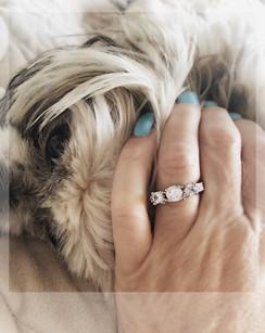 Triple white sapphire ring. Size 6 .