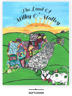 Welcome to The Land of Milky O'Malley! This is Diane's first children's story. It is a 34 page, early childhood read, soft cover story book. All illustrations are hand painted as well  as written by the author, Diane Williamson. Scroll through to see some of the pages of this wonderfully whimsical and ethically kind story about perseverance, patience and learning about colors! The story takes place in Ireland and is about 6 cows that give green milk for their babies! Please allow up to 2 weeks for delivery. Signed copies through this website. Add in comment for specific signings .
