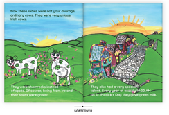 Welcome to The Land of Milky O'Malley! This is Diane's first children's story. It is a 34 page, early childhood read, soft cover story book. All illustrations are hand painted as well  as written by the author, Diane Williamson. Scroll through to see some of the pages of this wonderfully whimsical and ethically kind story about perseverance, patience and learning about colors! The story takes place in Ireland and is about 6 cows that give green milk for their babies! Signed copies through this website. Add in comment for specific signings .