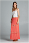Maxi skirt with lace trim. Crinkle knit maxi skirt with crochet lace insets. Miniskirt lining. Elasticized waistband.