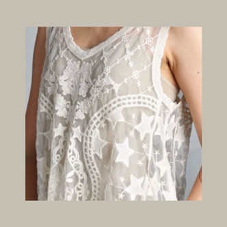 Star design V neck crochet mesh tank. ONE SIZE.  Fits approx. a size 4 to 8/10 stretches