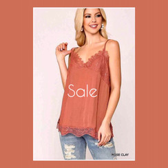 SOLID LACE TRIM V NECK SATIN CAMI TOP in Rose Clay! GORGEOUS!! great loose fit. Adjustble straps. Perfect for any bottoms!
