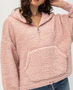 BLUSH HALF ZIP PULLOVER SHERPA HOODIE WITH FRONT POCKET. FREE gift with purchase! NEW gifts are in stock! NOW 1/2 Price!  Model is wearing a small