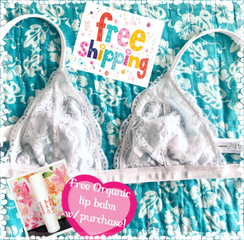 White Lace Bralette Size M/Lfits approx a size 36/C SALE! PLUS FREE LIPBALM suppiles are limited!