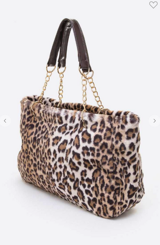 "Spring forward like a leopard! LOVE this Leopard Tote with chain strap detail! Check out the Tiger bag too!  Length - 18"" Width - 6"" Height -  10.5"" / 20.5"" With Handle Lead & Nickel Compliant"