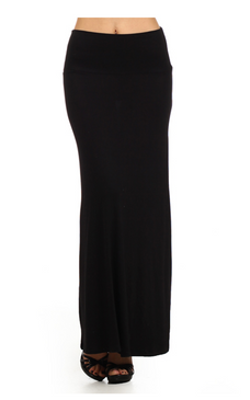 A STAPLE for Spring and SUMMER! Solid Black knit maxi skirt with a banded waist. Fabric 95%RAYON 5%SPANDEX Made in USA