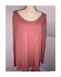 POL brand 94% Rayon 6 % spandex top. We have one left in size Large. Loose fitting , soft fabric.