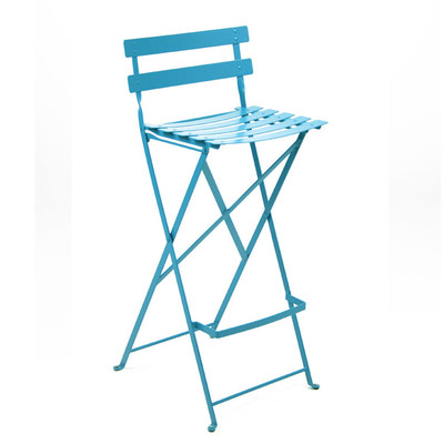 The Bistro Metal High Stool shown in Turquoise.