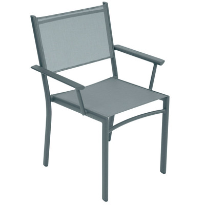 The Costa stacking armchair shown in liquorice.