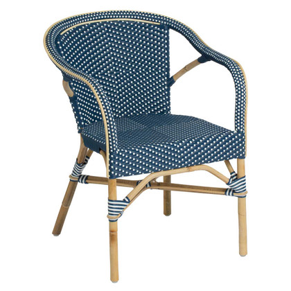 Madeleine Arm Chair, Navy Blue with White Dots - Side