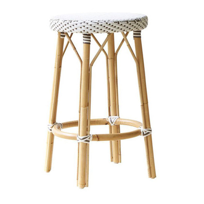 Simone Counter Stool, White with Cappuccino Dots