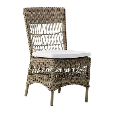 Marie Side Chair, Antique Brown with White Cushion