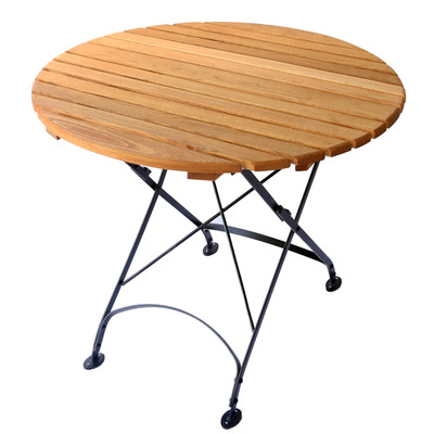 Round Wood Table for Outdoor Use-Foldable