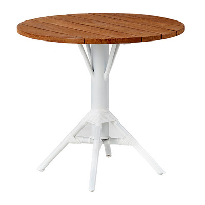 Nicole Cafe Table with Round Teak Tabletop 80cm
