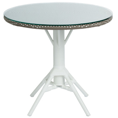 Nicole Cafe Table with Woven Round Tabletop 80cm, Cappuccino with White Dots