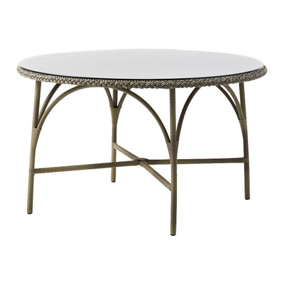 Victoria Round Dining Table, Antique Brown with Glass Top