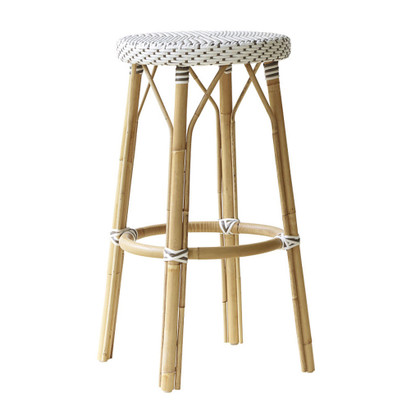 Simone Bar Stool, White with cappuccino dots