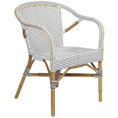 Madeleine Arm Chair, White/Cappuccino